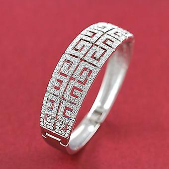 18K White Gold Plated Twin Layer Maze Style Bracelet, 14.5cm