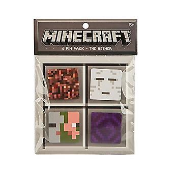Pin - Minecraft - Nether 4 Button Pack Set Block Ghast Zombie Pigman Portal j6216