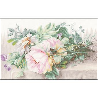 LanArte Still Life W/Peonies On Linen Counted Cross Stitch K-15.5