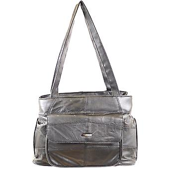 Ladies Soft Nappa Leather Handbag / Shoulder Bag with Multiple Pockets (Black)