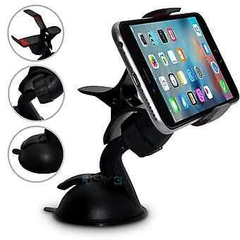 (SuperClaw Black) alcatel Pixi 4 (7) Windscreen Mobile Phone Smart Car Dashboard Mount Holder Cradle ONX3�
