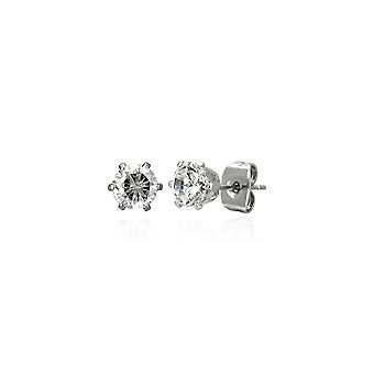 Urban Male Pair of Stainless Steel 3mm White Round CZ Stud Earrings