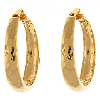 Kenneth Jay Lane Gold Plated Hammered Hoop Clip On Earrings