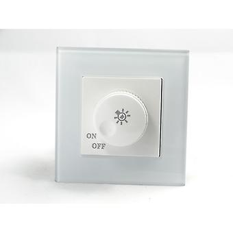 I LumoS AS Luxury White Crystal Glass Single Frame 1 Gang Rotary Dimmer Light Switch