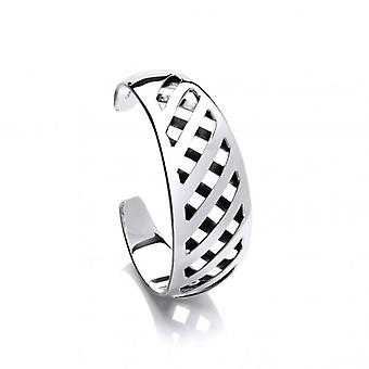 Cavendish French Silver Chequered Cuff Bangle