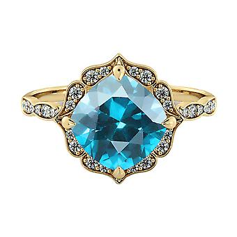 Aquamarine 3.25 ctw Ring with Diamonds 14K Yellow Gold Flower Leaves Halo