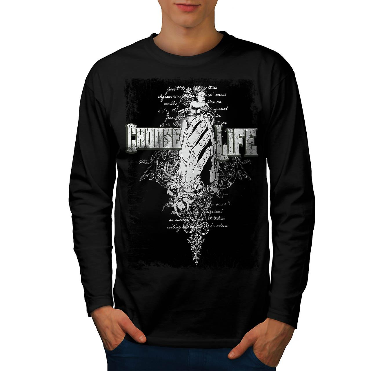 Choose Life Hand Clap Inspired Men Black Long Sleeve T-shirt | Wellcoda