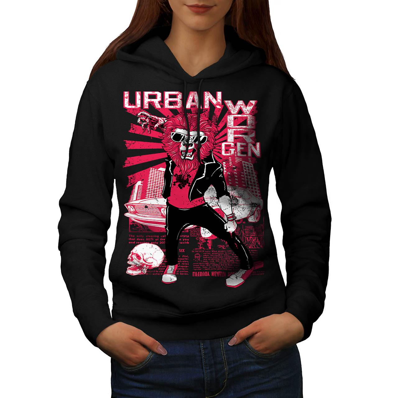 Urban Jungle Lion Claw City Life Women Black Hoodie | Wellcoda