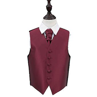 Boy's Burgundy Solid Check Wedding Waistcoat & Cravat Set