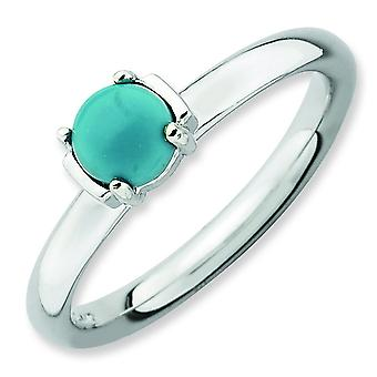 2.5mm Sterling Silver Stackable Expressions Polished Turquoise Ring - Ring Size: 5 to 10