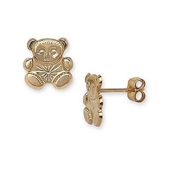 14k Yellow Gold Teddy Bear Stamping Children Earrings - Measures 9x9mm