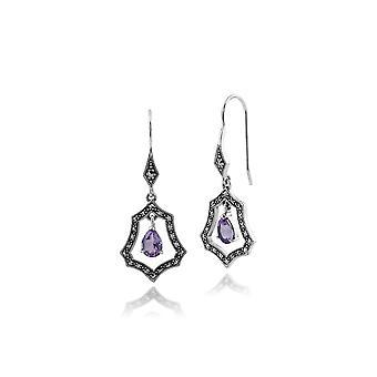 Gemondo 925 Sterling Silver 1.3ct Amethyst & Marcasite Art Nouveau Drop Earrings