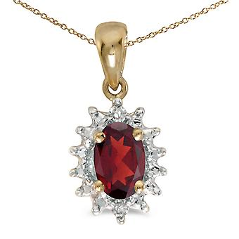 10k Yellow Gold Oval Garnet And Diamond Pendant with 16