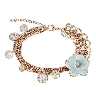 14K Gold Plated Multi-Chain Flower Charm Bracelet, 19.5cm