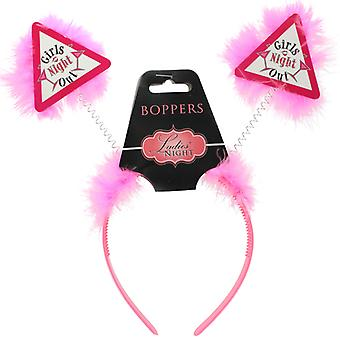 Hot Pink 'Girls Night Out' Head Bopper Headband With Fur Party Accessory