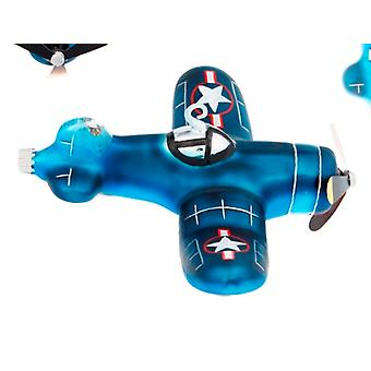 Blue Fighter Bomber Plane Glass Holiday Christmas Ornament