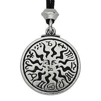 Handgemaakte zon Zen Zodiac Sign Astrologie Pewter hanger ~ 36 inch zwart snoer