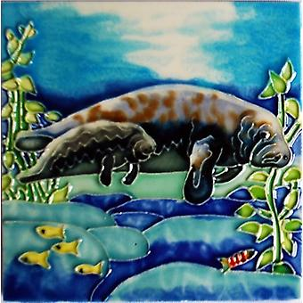 Manatee Mama with Baby Ceramic Tile 4 Inches