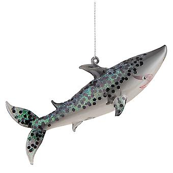 Glitterery Hai Glas Weihnachten Urlaub Ornament