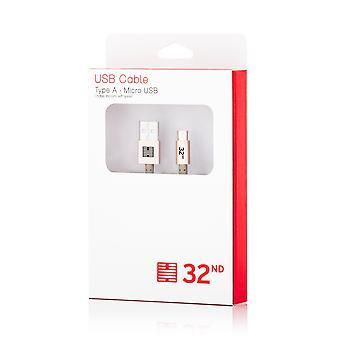 32nd flettet USB til Micro-USB-adapterkabel - guld