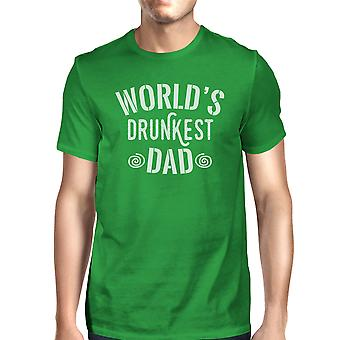World's Drunkest Dad Men's Green Funny Design Tee For Fathers Day