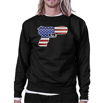Pistol Shape American Flag Unisex Sweatshirt For Independence Day