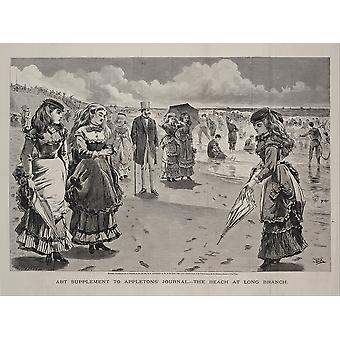 Winslow Homer - The Beach at Long Branch Grey Scale Poster Print Giclee