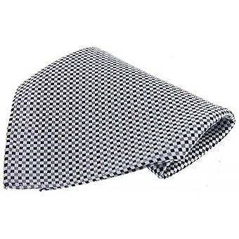 David Van Hagen Small Checked Silk Handkerchief - Black/White