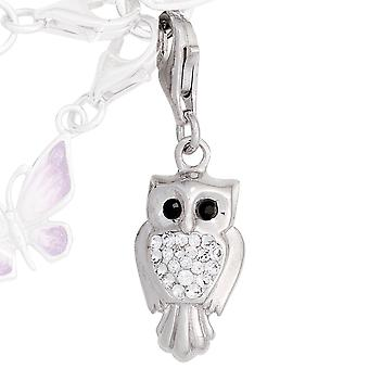 Single earrings charm OWL 925 sterling silver rhodium plated Swarovski element