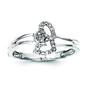 Sterling Silver Diamond Heart Ring - Ring Size: 6 to 8