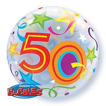 Qualatex 22 Inch Single Age 50 Star Pattern Birthday Bubble Balloon