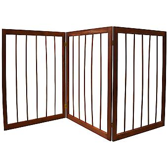 Cherish - 3 Section Solid Wood Folding Pet Gate - Brown