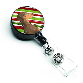 Doberman Candy Cane Holiday Kerstmis intrekbare Badge Reel