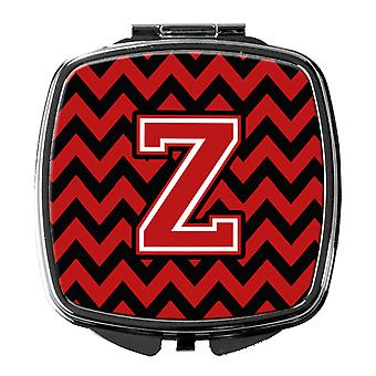 Carolines Treasures  CJ1047-ZSCM Letter Z Chevron Black and Red   Compact Mirror