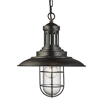 Fisherman Black Gold Caged Pendant With Seeded Glass - Searchlight 5401bg