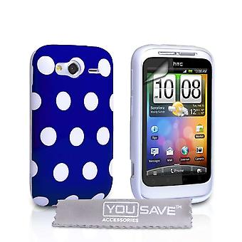 Yousave Accessories HTC Wildfire S Polka Dot Gel Case - Blue