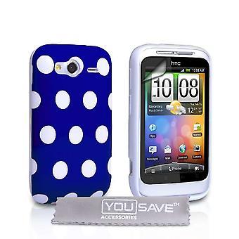 Yousave tilbehør HTC Wildfire S Polka Dot Gel sag - blå