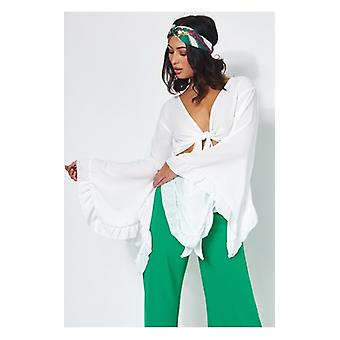 The Fashion Bible Valentina White Tie Front Wide Sleeve Crop Top