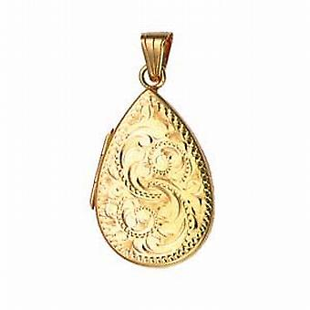 9ct Gold 28x19mm hand engraved flat teardrop Locket