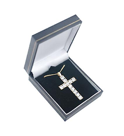 9ct Gold 45x29mm Apostle's Cross set with 12 Cubic Zirconia with a curb Chain 16 inches Only Suitable for Children