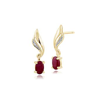 Gemondo 9ct Yellow Gold 0.64ct Ruby & Diamond Drop Earrings