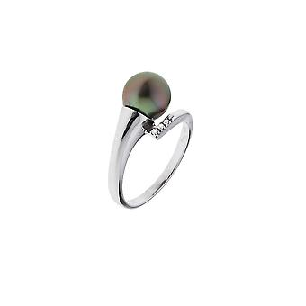 Tahitian Pearl, diamond ring and gold white 375/1000