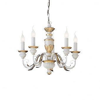 Ideal Lux Firenze traditionnel 5 blanc et or lustre lumière