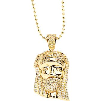Iced Out Bling Micro Pave Kette - MINI JESUS II gold lemon