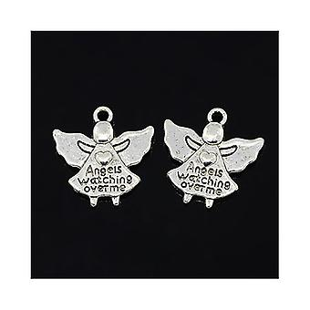 30 x Antique Silver Tibetan 19mm Angels Watching Over Charm/Pendant ZX00165