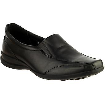 Amblers dames dames instapper Twin Spie leder Slip op schoen zwart