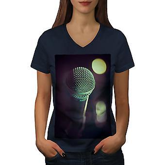 Microphone Song Women NavyV-Neck T-shirt   Wellcoda