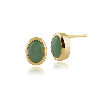 9ct Yellow Gold Jade Earrings