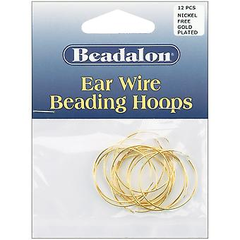 Ear Wire Beading Hoops Medium 25mm 12/Pkg-Gold-Plated & Nickel-Free