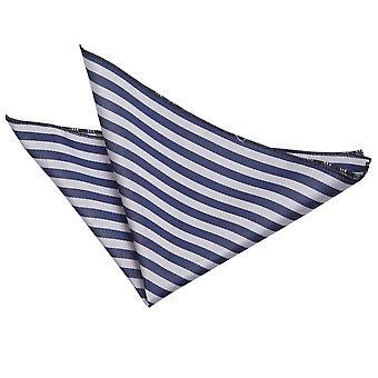 Navy Blau & Silber dünne Streifen Einstecktuch